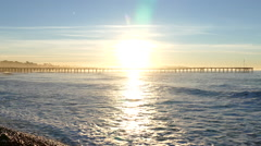 Ventura Pier Sunrise in Southern California with Zoom In Stock Footage