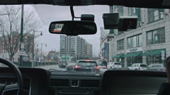 Driving in Boston during a cold fall day - stock footage