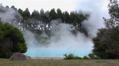 Natural hot mineral water geothermal spring steaming Stock Footage