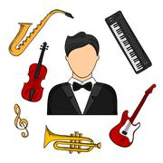 Musician and musical instruments icons - stock illustration