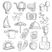 Travel, journey and leisure sketch icons - stock illustration
