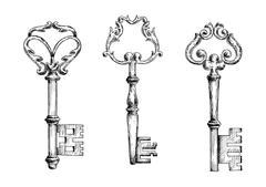 Old key sketletons in sketch style - stock illustration