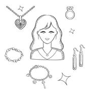 Stock Illustration of Woman fashion with jewelry and gold