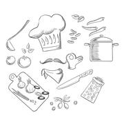 Chef preparing vegetarian salad, sketch icons Stock Illustration
