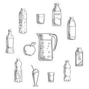Beverages and drinks sketches set Piirros