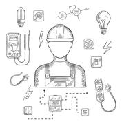 Professional electrician with tools and equipment - stock illustration