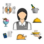 Waitress and restaurant color icons - stock illustration