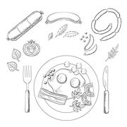 Breakfast with groceries and sausage - stock illustration