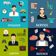 Phone operator, lawyer, maid and butcher icons Piirros