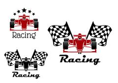 Motor racing sport icons with race cars Piirros