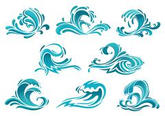 Blue sea waves and surf icons Piirros