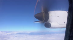 CLOSE UP: Small plane propeller spinning on aeroplane flight Stock Footage