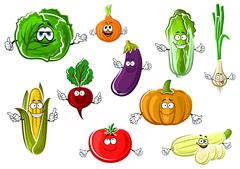 Happy appetizing cartoon isolated vegetables - stock illustration