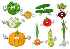 Stock Illustration of Fresh and tasty cartoon farm vegetables