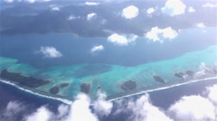 AERIAL: Beautiful Bora bora atoll island with white sand reef Stock Footage