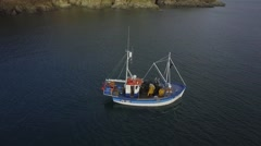 Fishing Trawler Pulls in Lobster Pots off Cornish Coast Stock Footage