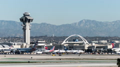 Los Angeles International Airport Traffic Time Lapse with Zoom Stock Footage