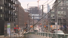 Toronto condominiums going up in corktown district downtown - stock footage