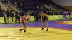 Boys compete in freestyle wrestling Stock Footage