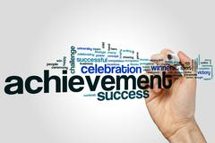 Achievement word cloud concept Stock Illustration