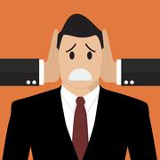 Businessman was covered ears by other man Stock Illustration