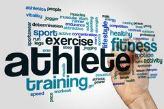 Athlete word cloud concept - stock illustration