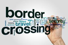 Border crossing word cloud concept - stock illustration