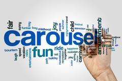 Carousel word cloud concept - stock illustration