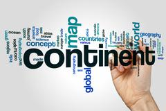 Continent word cloud concept Stock Illustration