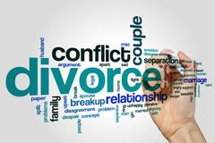 Divorce word cloud concept - stock illustration