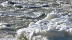 Hudson River Ice flow during a cold winter day Stock Footage