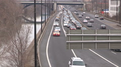 Toronto traffic jam and gridlock on the Don Valley Parkway by don river Stock Footage
