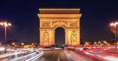 Triumph Arch at night Stock Footage