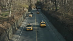 Central Park Road and Traffic during a cold fall day Stock Footage
