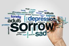 Sorrow word cloud concept - stock illustration