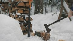 Axe Chopping Wood Log in Slow Motion. Stock Footage