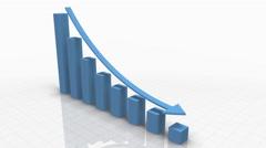 Falling Bar Graph in LIGHT BLUE w. Arrow - stock footage