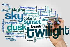 Twilight word cloud concept - stock illustration