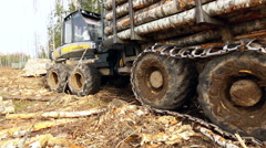 View on wheels of modern logger, close-up Stock Footage