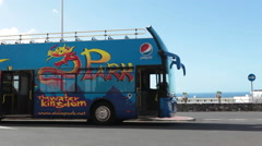 Bus is near the entrance of Siam Park. Costa Adeje, Tenerife, Spain Stock Footage