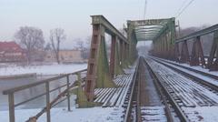 Empty Bridge Inscription in Polish Old Railroad Bridge Through a River Metal Stock Footage
