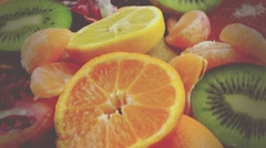 Fresh Fruits-vintage look Stock Footage