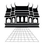 Pagoda and temple silhouette black icon Stock Illustration