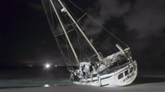 Timelapse of Shipwrecked Yacht on Phuket Beach Stock Footage