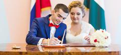 wedding ceremony in a registry office painting, marriage - stock photo