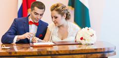 Wedding ceremony in a registry office painting, marriage Stock Photos