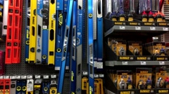 Pan shot of display tools inside Home Depot store - stock footage