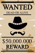 Vintage western wanted poster - stock illustration