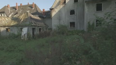 Aerial of a ghosttown, tracking shot from right to left Stock Footage