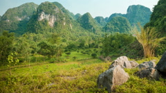 Panoramic view of Cat Ba island mountains Stock Footage